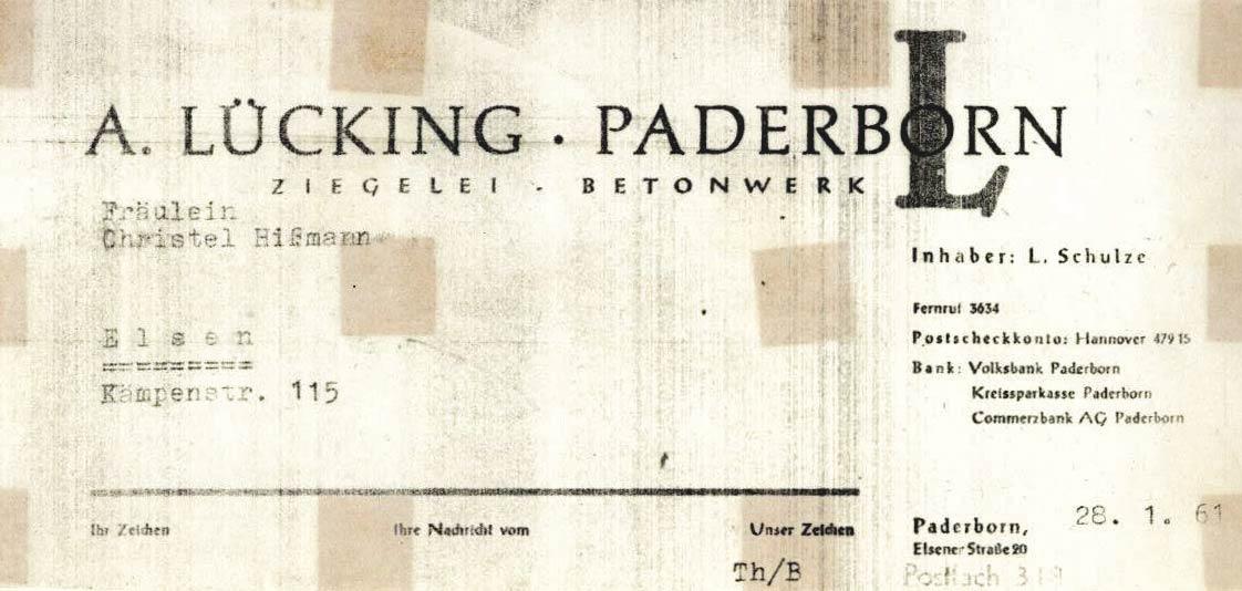 Briefkopf Betonwerk Lücking von 1961