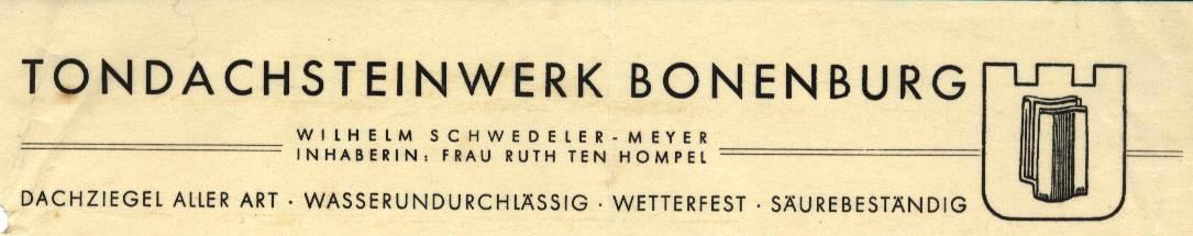 Briefkopf Tondachsteinwerk Bonenburg