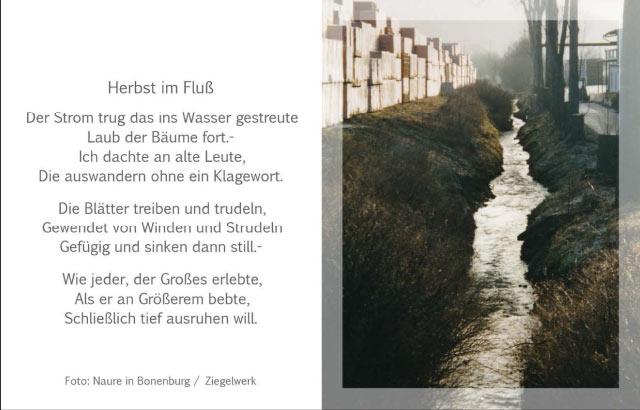 """Gedenkkarte Lyrik und Foto """"Herbst im Fluß"""""""