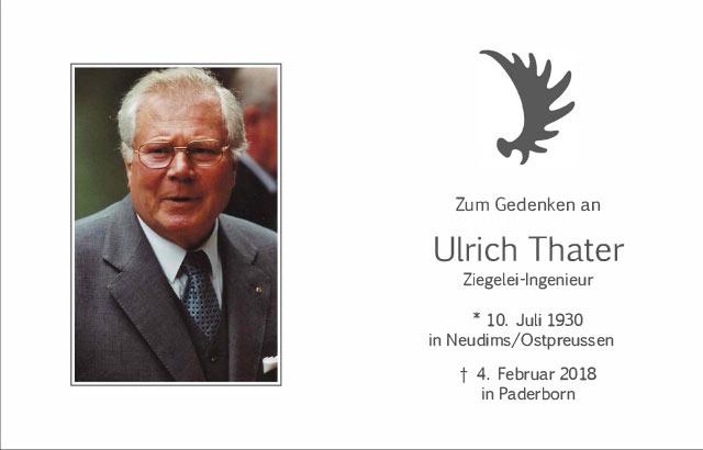 Gedenkkarte mit Portrait Ulrich Thater